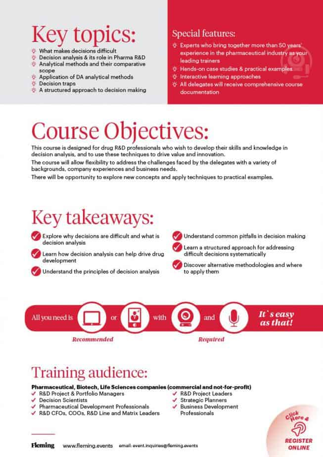 Decision Analysis in Drug Research & Development Training Course   Fleming