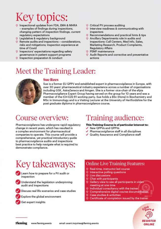 Pharmacovigilance Inspections & Audits Updates Training Course   Fleming