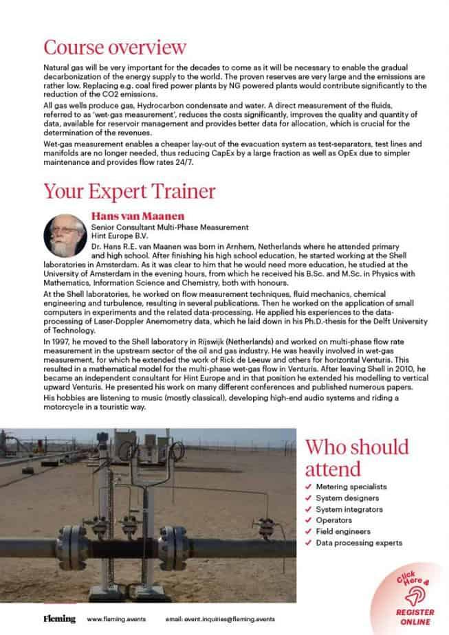 Wet Gas Flow Measurement Training Course | Fleming