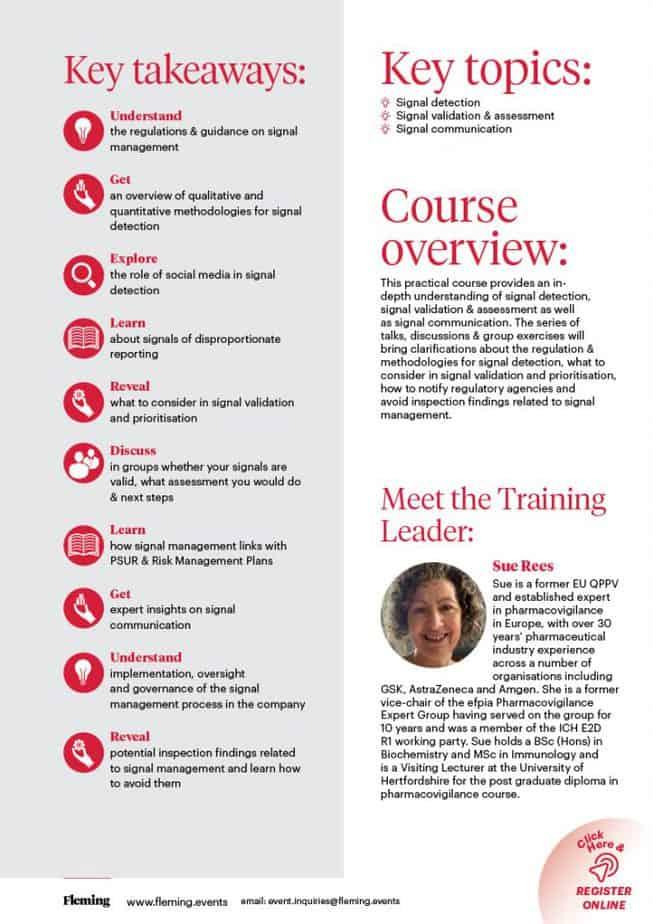 Signal Management in Pharmacovigilance Training Course | Fleming