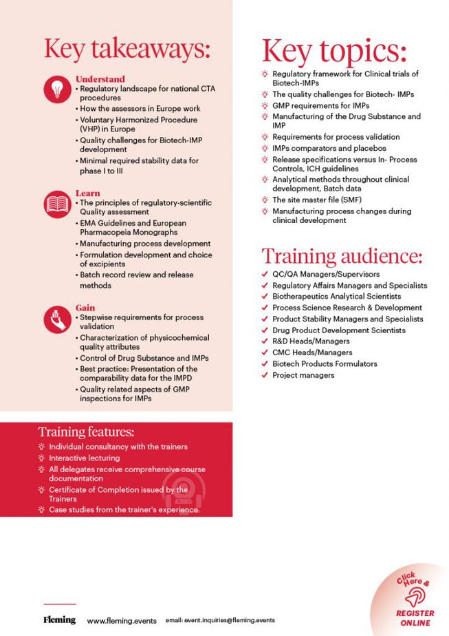 Quality Requirements for Biotech Products Training Course   Fleming